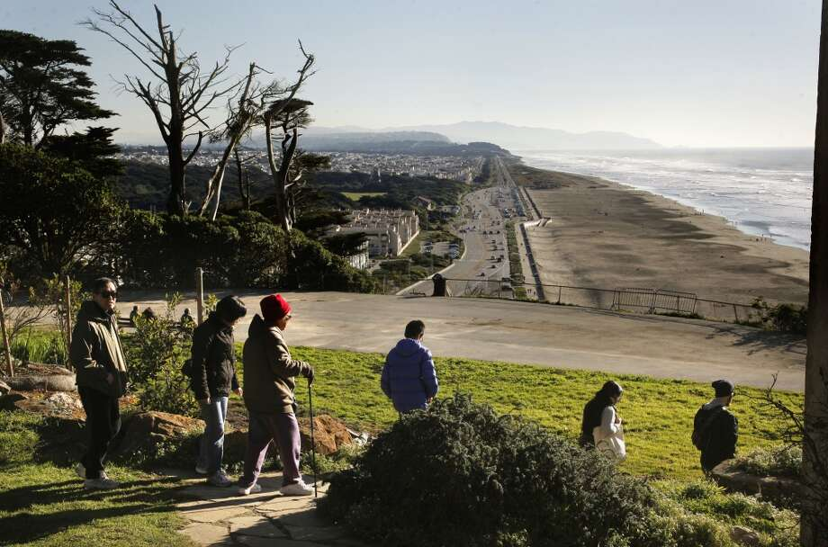 22. SUTRO HEIGHTS  PARK.  Visitors are treated to breathtaking views looking out over the Great Highway, Ocean Beach and the Pacific Ocean from the top of Sutro Heights Park. Photo: Michael Macor, The Chronicle