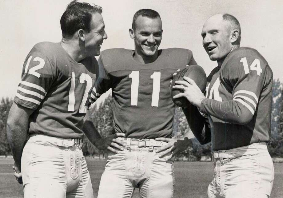 Y.A. TITTLE, athlete: The 49ers quarterback, right, was a baldness role model of the 1950s and 60s. He still lives in the Bay Area. Photo: 1960, Associated Press