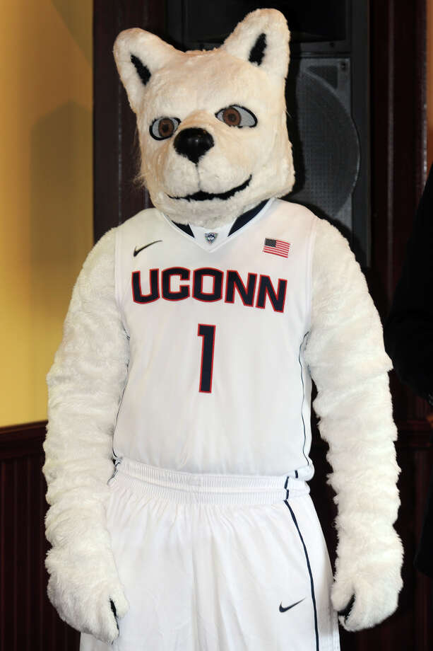 University of Connecticut mascot Jonathan the Husky attends a press conference to announce a new partnership between Harbor Yard Sports and Entertainment, Webster Bank Arena and UConn Athletics, held at the arena in Bridgeport, Conn., Oct. 7, 2013. The UConn menâÄôs and womenâÄôs basketball teams will both play a home game at the arena this season. Photo: Ned Gerard / Connecticut Post