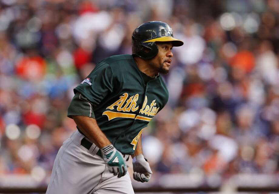 Oakland Athletics' Coco Crisp doubles during the first inning of Game 3 of an American League baseball division series against the Detroit Tigers in Detroit, Monday, Oct. 7, 2013. Photo: Paul Sancya, Associated Press