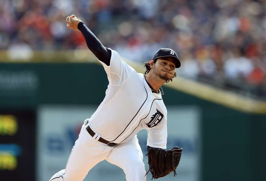 Anibal Sanchez pitches against the Oakland Athletics in the first inning of Game Three of the American League Division Series at Comerica Park on October 7, 2013 in Detroit, Michigan. Photo: Rob Carr, Getty Images