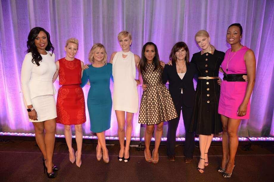 (L-R) Honorees Jennifer Hudson, Elizabeth Banks, Amy Poehler, Charlize Theron, Kerry Washington, Amy Pascal, Nicole Kidman and host Aisha Tyler pose onstage at attends Variety's 5th Annual Power of Women event presented by Lifetime at the Beverly Wilshire Four Seasons Hotel on October 4, 2013 in Beverly Hills, California.  (Photo by Jason Merritt/Getty Images for Variety) Photo: Jason Merritt, Getty Images For Variety