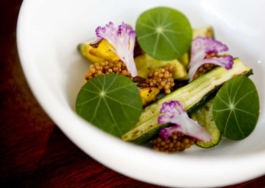 Roasted Summer Squash With Shaved Cauliflower & Pickled Mustard Seeds. Recipe from Teague Moriarty of Sweet Woodruff and Sons & Daughters. Photo: Russell Yip, The Chronicle