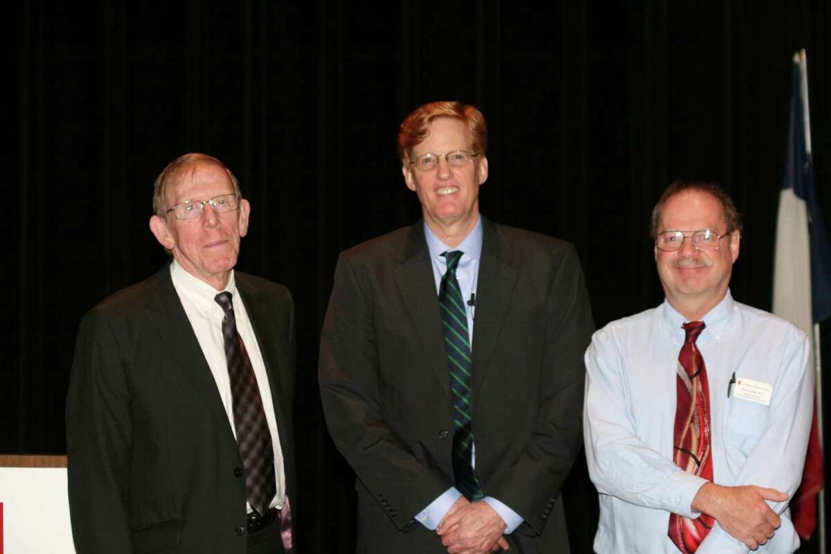 Robert Handy, from left, Joshua Landis and College of the Mainland social and behavioral sciences department chair Steve Sewell.