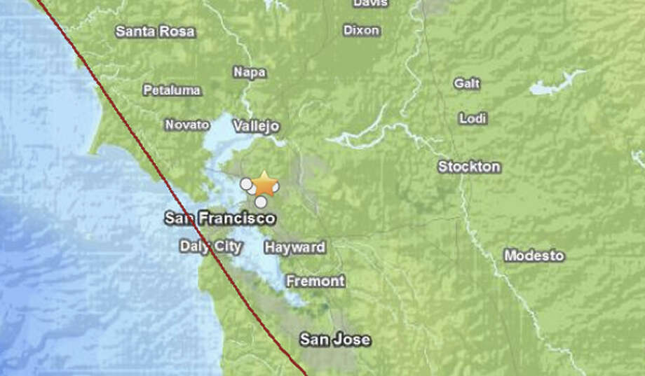 The quake, centered about 2.5 miles east-northeast of Berkeley, happened at 9:26 p.m Sunday night. Photo: USGS