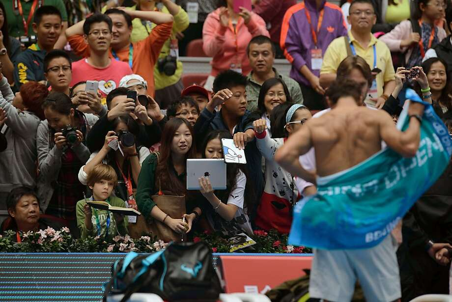 Camera flash: For some fans, the highlight of the Nadal-Fognini quarterfinal at the China Open in Beijing was the Raffy shirt 