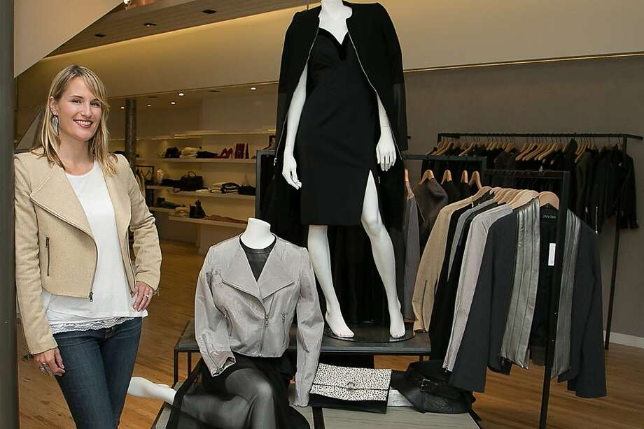 Mill Valley fashion designer J'Amy Tarr wears her moto jacket at a Curve boutique trunk show, above. Photo: Courtesy J'Amy Tarr