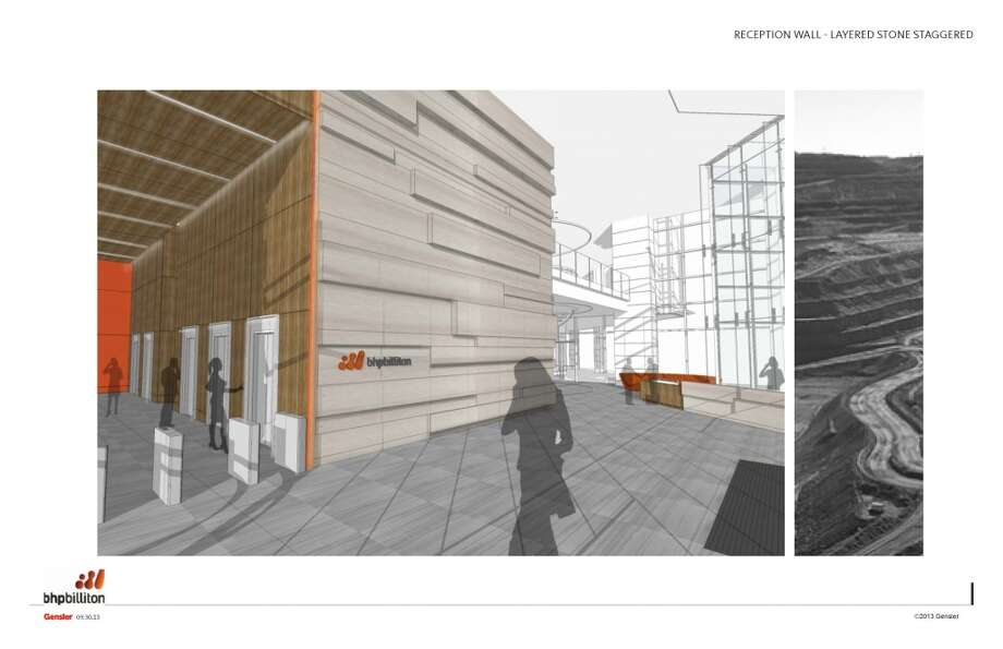 A rendering of the lobby in the new BHP Billiton Tower