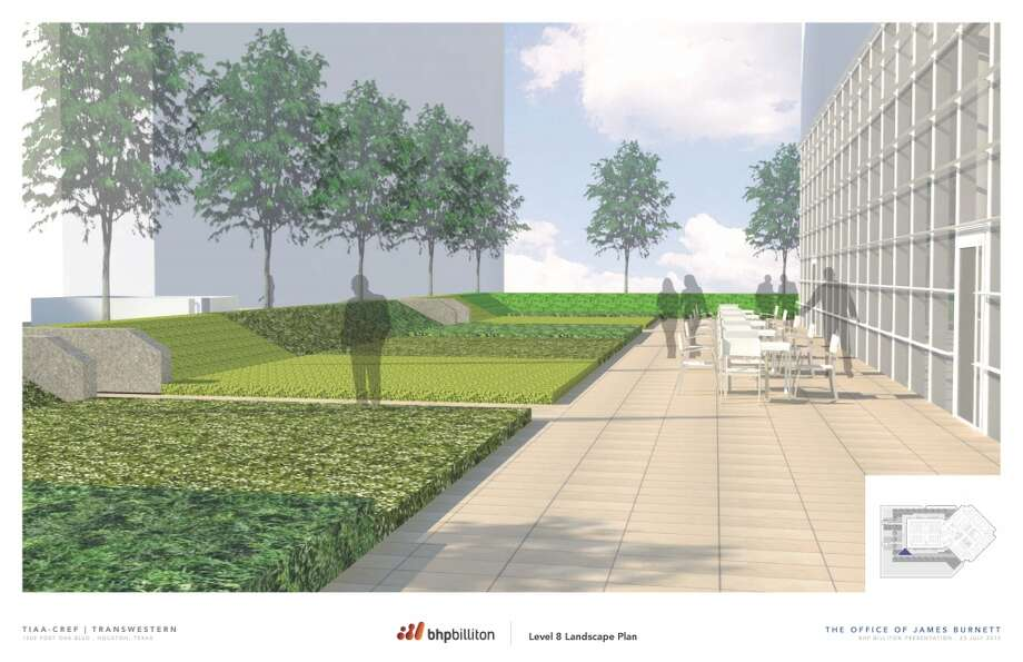 A rendering of the grounds outside BHP Billiton Tower