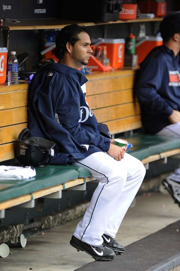 Detroit Tigers starting pitcher Anibal Sanchez sits in the dugout after being pulled during the fifth inning. Photo: Lon Horwedel, Associated Press