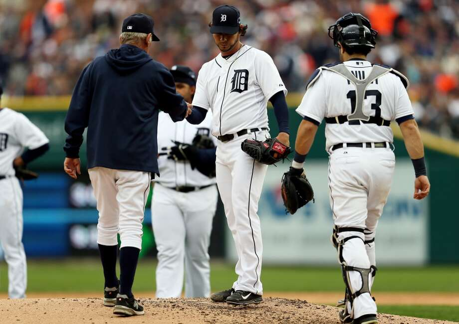 DETROIT, MI - OCTOBER 07:  Anibal Sanchez #19 of the Detroit Tigers walks off the mound after being pulled in the fifth inning against the Oakland Athletics during Game Three of the American League Division Series at Comerica Park on October 7, 2013 in Detroit, Michigan.  (Photo by Rob Carr/Getty Images) Photo: Rob Carr, Getty Images