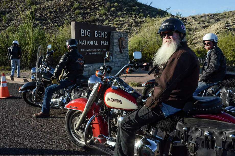 (center) Homer French a Harley motorcyclist on a once in a lifetime ride through Big Bend National park which didn't happen. (Photos by Jessica Lutz )