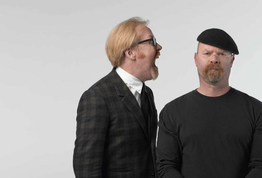 "Jamie Hyneman (right) and Adam Savage bring their ""MythBusters"" TV show to the stage in ""MythBusters: Behind the Myths."" Photo: Robert Fujioka Studios / ONLINE_YES"