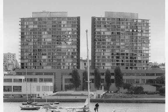 The two towers of the Fontana complex next to Aquatic Park were controversial when built in the 1960's.  Photo was taken 7/16/92.