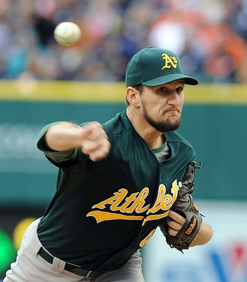 Oakland Athletics relief pitcher Dan Otero throws during the sixth inning of Game 3 of an American League baseball division series against the Detroit Tigers in Detroit, Monday, Oct. 7, 2013. (AP Photo/Lon Horwedel) Photo: Lon Horwedel, Associated Press