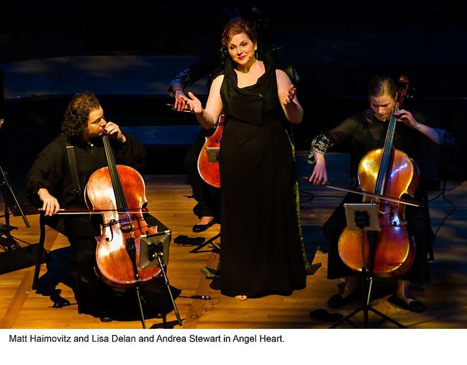 "Matt Haimovitz (l.), Lisa Delan and Andrea Stewart in ""Angel Heart,"" 10/6/13 Hertz Hall, Berkeley Photo: Steve DiBartolomeo"