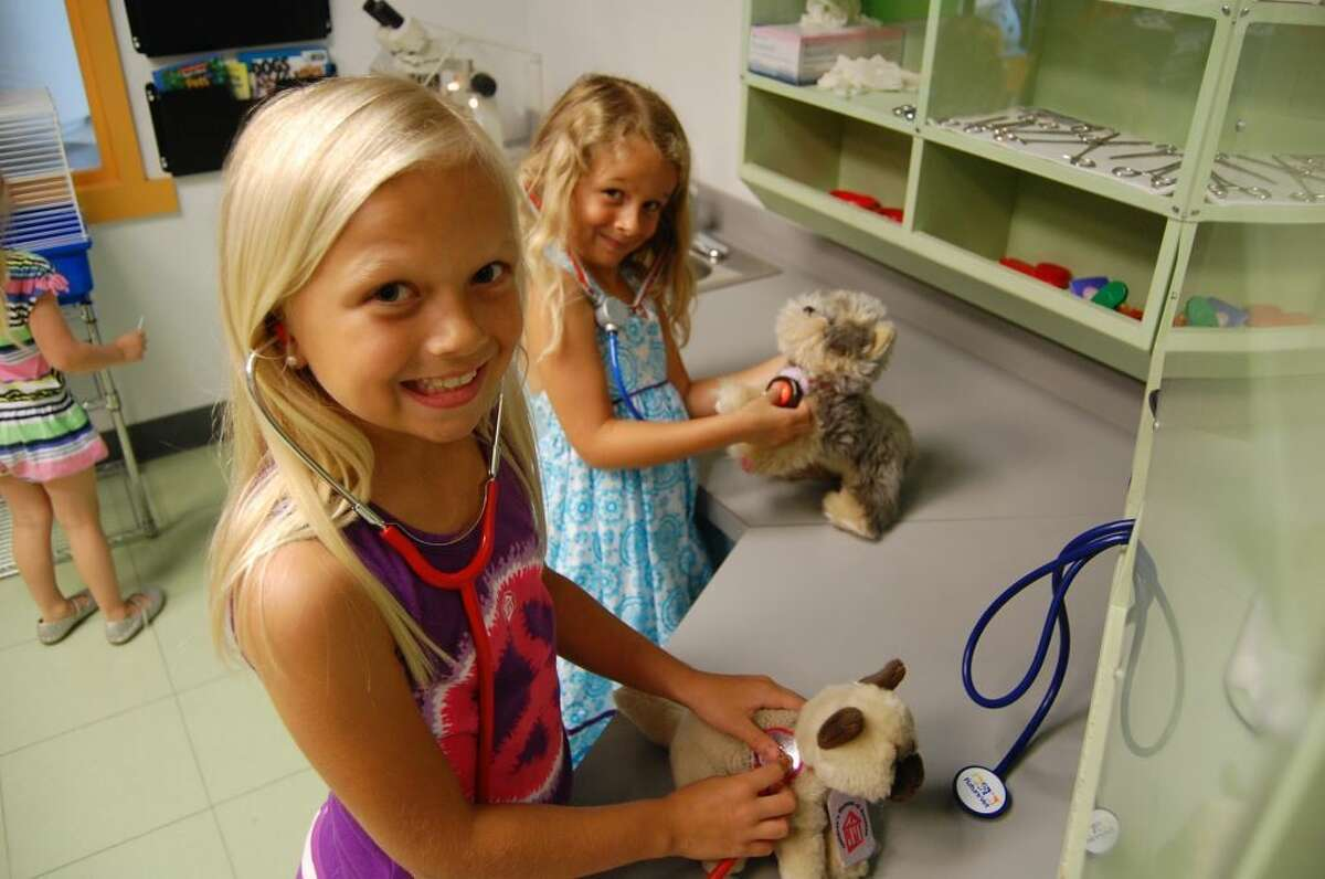Children learn about responsible pet ownership at the FutureVet Clinic.