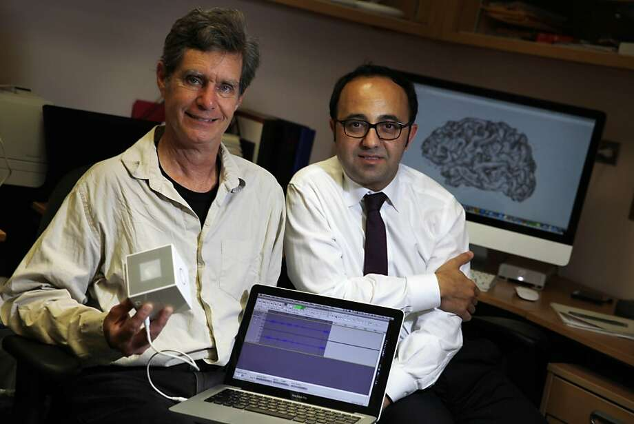 Music researcher Chris Chafe (left) and Stanford epilepsy specialist Josef Parvizi have converted brain activity to sound. Photo: Lea Suzuki, The Chronicle
