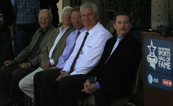 New members and representatives of members of the 2014 San Antonio Sports Hall of Fame are seated Monday October 7, 2013 at the Dominion Country Club. Seated are: (left to right) Joe Straus, Jr. and David Straus (representing their late father Joe Straus Sr.), Lee Willis and Mike Shull (representing the 2009 McAllister Park Little League All Stars, and John Albeck (representing his father Stan Albeck. Former San Antonio Spur Artis Gilmore (not present) was also named and made a statement over the phone. Photo: JOHN DAVENPORT, SAN ANTONIO EXPRESS-NEWS / ©San Antonio Express-News/Photo may be sold to the public