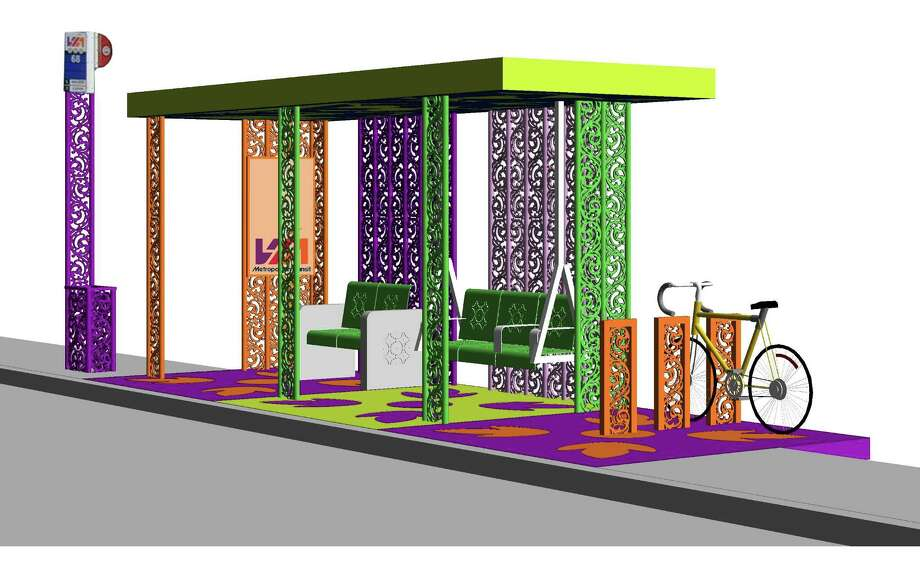 This artist's rendering shows the colorful bus shelter planned for the 1200 block of Guadalupe Photo: Courtesy