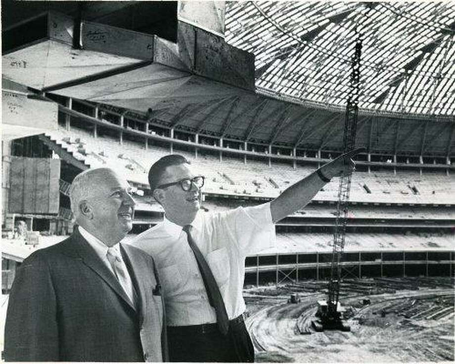 Colt .45 President Roy Hofheinz, right, shows National League president Warren Giles some features of the Astrodome in September 1964. Photo: Houston Chronicle