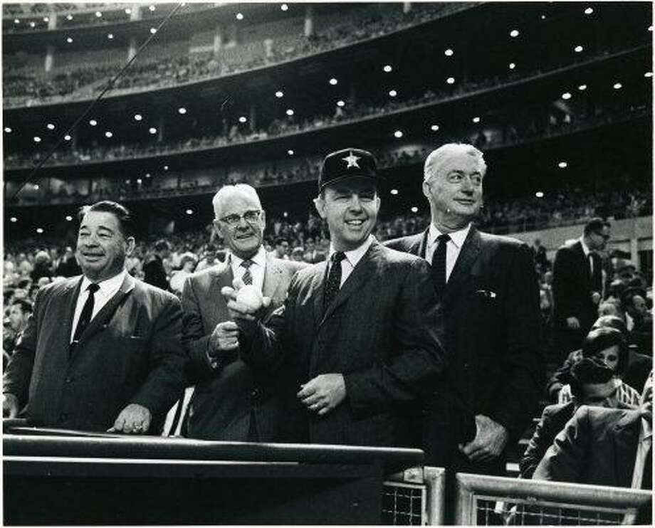 "Harris County  Commissioners and County Judge at Astrodome for 1966 Astros season opener: E. A. ""Squatty"" Lyons, Phillip Sayers, County Judge Bill Elliott, V.V. ""Red"" Ramsey. Photo: George Honeycutt, Houston Chronicle"