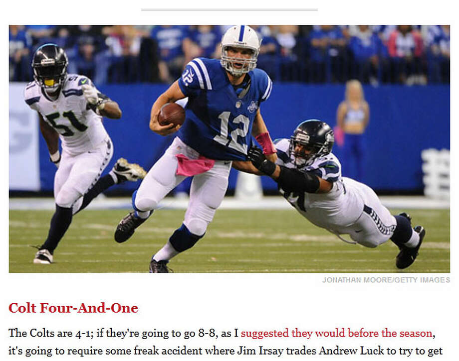 "Grantland's Bill Barnwell  On Grantland, football writer Bill Barnwell gave Indy's Andrew Luck and the Colts defense a lot of credit for stopping Russell Wilson and the Seahawks, but called out the officials for affecting the game. ""Independently of how well they played, the Colts did have a number of notable calls go their way in this game,"" Barnwell wrote. ""The Colts weren't lucky to win, by any means -- both teams played well, and somebody had to get these calls one way or another -- but it was a truly dismal officiating effort."" Photo: Screenshot, Grantland.com"