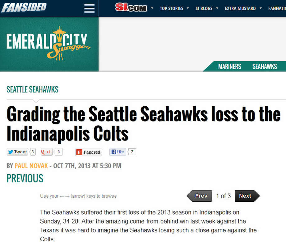 "Fansided's Emerald City Swagger  On Emerald City Swagger, a Seahawks blog affiliated with Sports Illustrated, writer Paul Novak gave Seattle a humbling report card to bring home to Papa Schneider, giving the team an overall C-plus grade. Marks for the offense, defense and coaching weren't that impressive, with special teams scoring best at B-minus. ""Bad officiating cost the Seahawks numerous points,"" Novak wrote, however. ""A safety that should have really counted for seven points instead of two wouldn't have been enough to give the Hawks the points needed to win but it was a blown call nonetheless."" Photo: Screenshot, EmeraldCitySwagger.com"