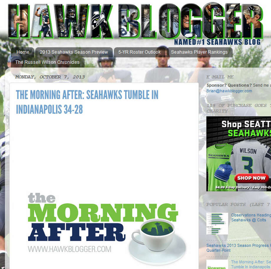 "Hawk Blogger (Brian Nemhauser)  In his weekly ""The Morning After"" feature, Hawk Blogger (AKA Brian Nemhauser) put into words what a lot of Seahawks fans have been feeling for the start of this season. ""Five weeks into the season, the Seahawks are stuck in a perpetual warm-up,"" Nemhauser wrote. ""Their talent is so overwhelming, and coaching so strong, that they have been able to exit that stretch 4-1, but this team has yet to put together a complete game."" Photo: Screenshot, HawkBlogger.com"