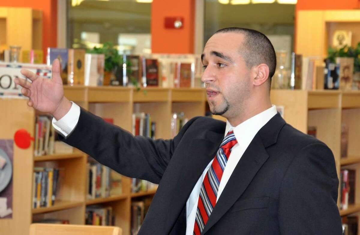 A.J. Albano thanks his supporters following a brief press conference at Brien McMahon High School in Norwalk on Tuesday.