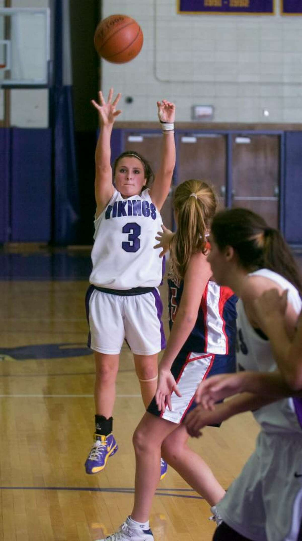 Westhill's Allyson Souza shoots during an FCIAC girls basketball game at Westhill High School in Stamford, Conn. on Tuesday, Jan. 26, 2010
