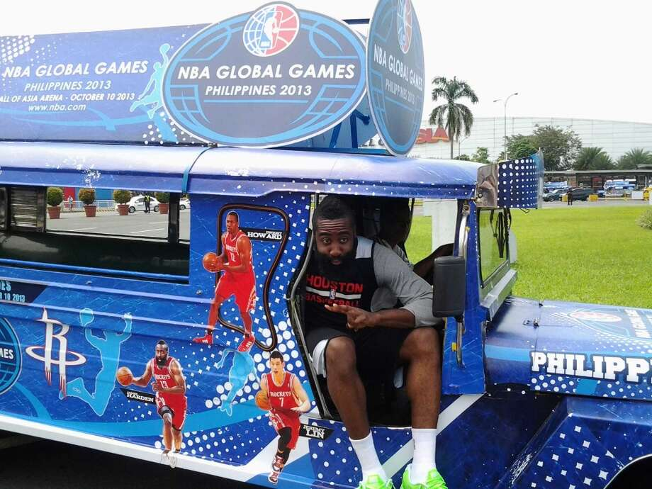 James Harden sees the sights in Manila in the NBA global games mobile. Photo: Jonathan Feigen, Houston Chronicle
