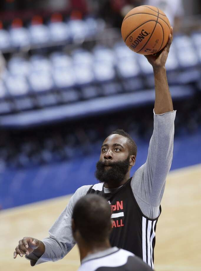 James Harden puts up a shot at practice on Tuesday. Photo: Bullit Marquez, Associated Press