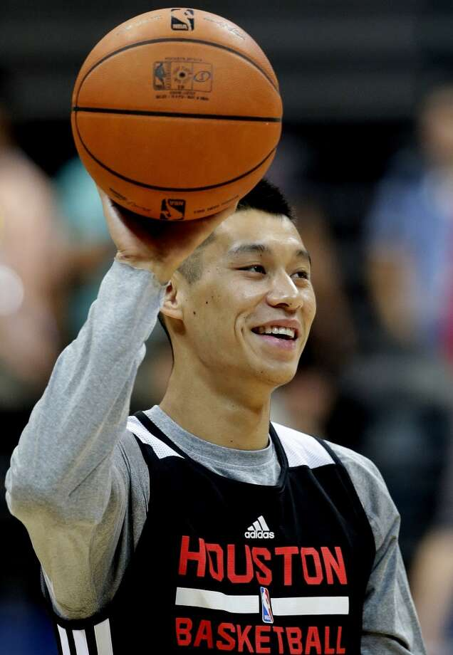 Jeremy Lin laughs during practice on Tuesday. Photo: Bullit Marquez, Associated Press
