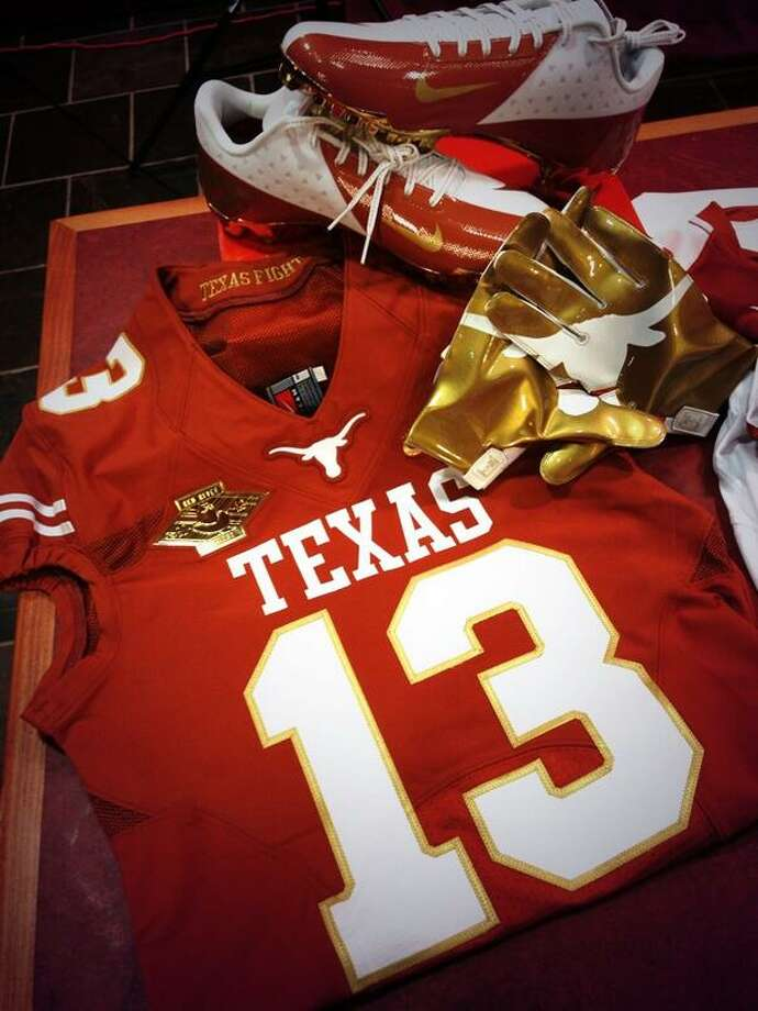 Texas and OU breaking out gold trimmed jerseys for Red River Rivalry.