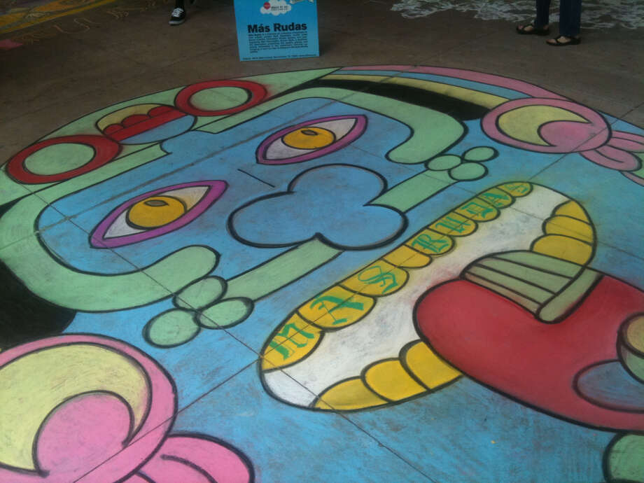 A drawing by the art group Mas Rudas at Chalk It Up 2012.