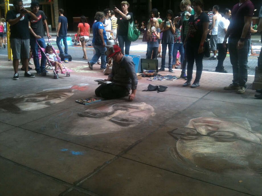Another view of Jeremiah Teutsch's portraits at Chalk It Up 2012.