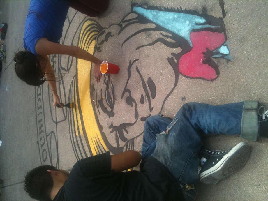 Portrait of  San Antonio attorney Mike Casey by Rigoberto Luna at Chalk It Up 2012.