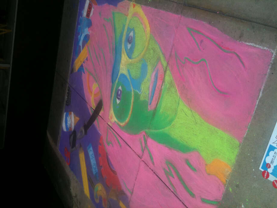 A drawing by members of the East Central High School Art Club at Chalk It Up 2012.