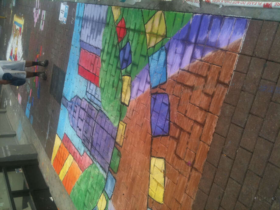 A Fiesta-inspired piece by students at O'Connor High School at Chalk It Up 2012.