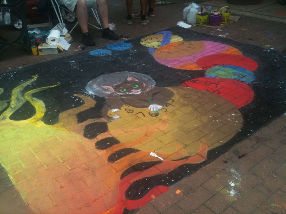 A drawing by members of the Providence Catholic School National Art Honor Society at Chalk It Up 2012.A
