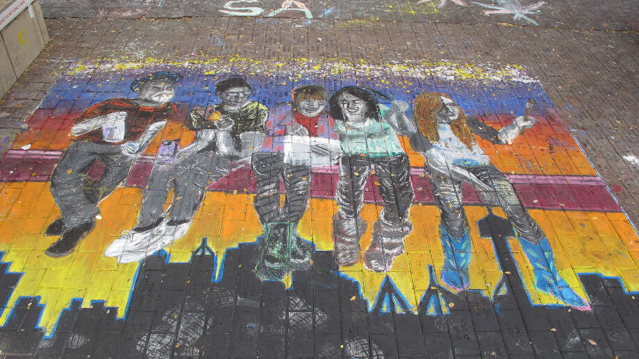 A drawing by students at HFA Alameda School of Art + Design at Chalk It Up 2012.