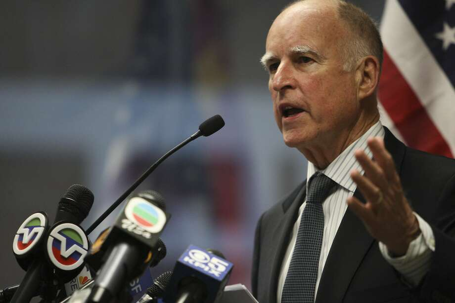 California Governor Jerry Brown speaks before the signing of the Memorandum of Understanding to enhance cooperation on low carbon development between The National Development and Reform Commission of the People's Republic of China and the State of California, in San Francisco, Calif. on Sunday, Sept. 13, 2013. Photo: Raphael Kluzniok, The Chronicle