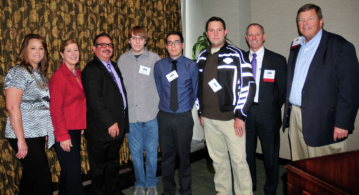 Tammy McAdams, from left, Ruth Keenan, and Stephen Lopez, all of San Jacinto College; scholarship recipients Joshua Trahan, Rodolfo Alanis and Ulysses Hickey; and Neil Morgan and Jerry Schweiger, of the Houston Chemical Association.