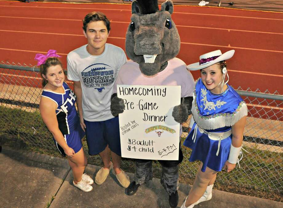 Sarah Slaton, from left, John Yawn, Mighty the Mustang (Jana Landers) and Cassidy Weeks publicize the dinner. Photo: Photo Courtesy Of Friendswood High School