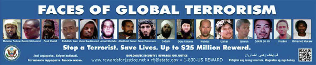 """The FBI's """"Faces of Global Terrorism"""" advertisement, a version of which was posted on the sides of King County Metro buses."""