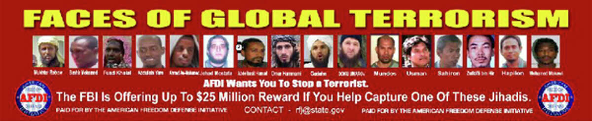 """The """"Faces of Global Terrorism"""" advertisement produced by the American Freedom Defense Initiative. The purported hate group attempted to have the advertisement displayed on King County buses, but was rejected by Metro."""