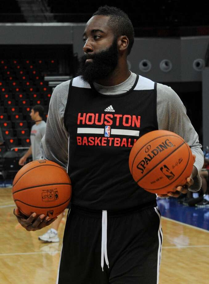 James Harden at practice on Tuesday. Photo: Jay Directo, AFP/Getty Images