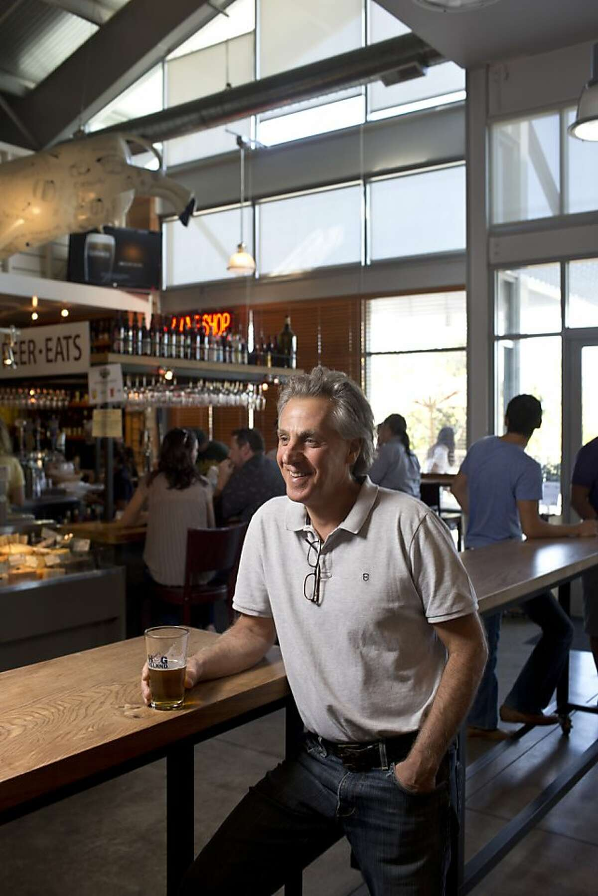 Founder and manager Steve Carlin has a beer at the Oxbow Public Market in Napa, Calif., Friday, October 4, 2013.