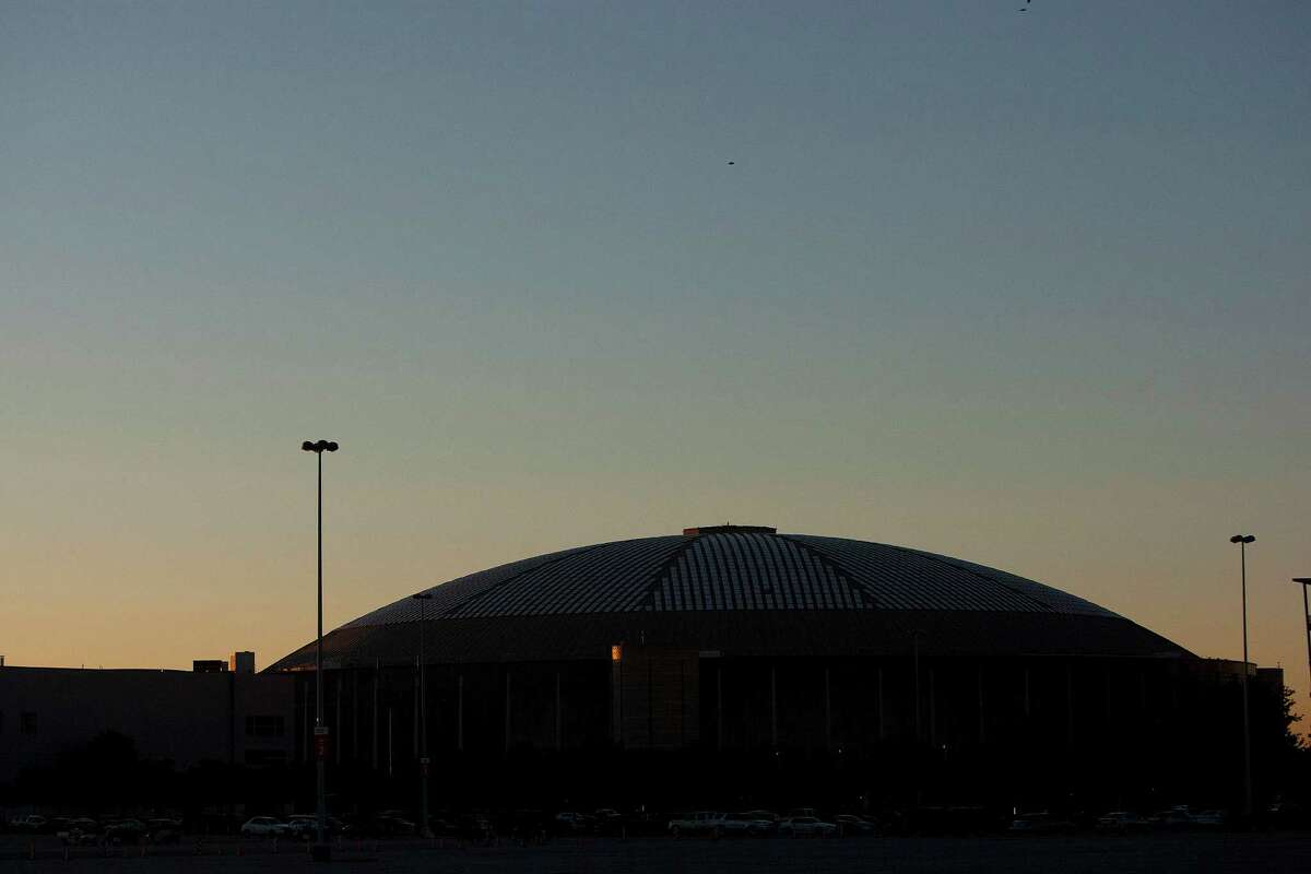 The Houston Astrodome before construction efforts begin Tuesday, Oct. 8, 2013, in Houston.